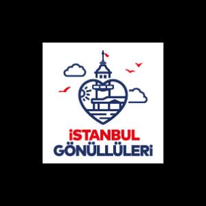 """Beyaz fonda lacivert çizgilerden oluşan bir kalp. Kalbin içinde Üsküdar Kız Kulesi çizimi. Arkasında lacivert bulutlar ve kırmızı martılar. Logonun altında kırmızı harflerle """"İstanbul"""", lacivert harflerle """"Gönüllüleri"""" yazıyor."""